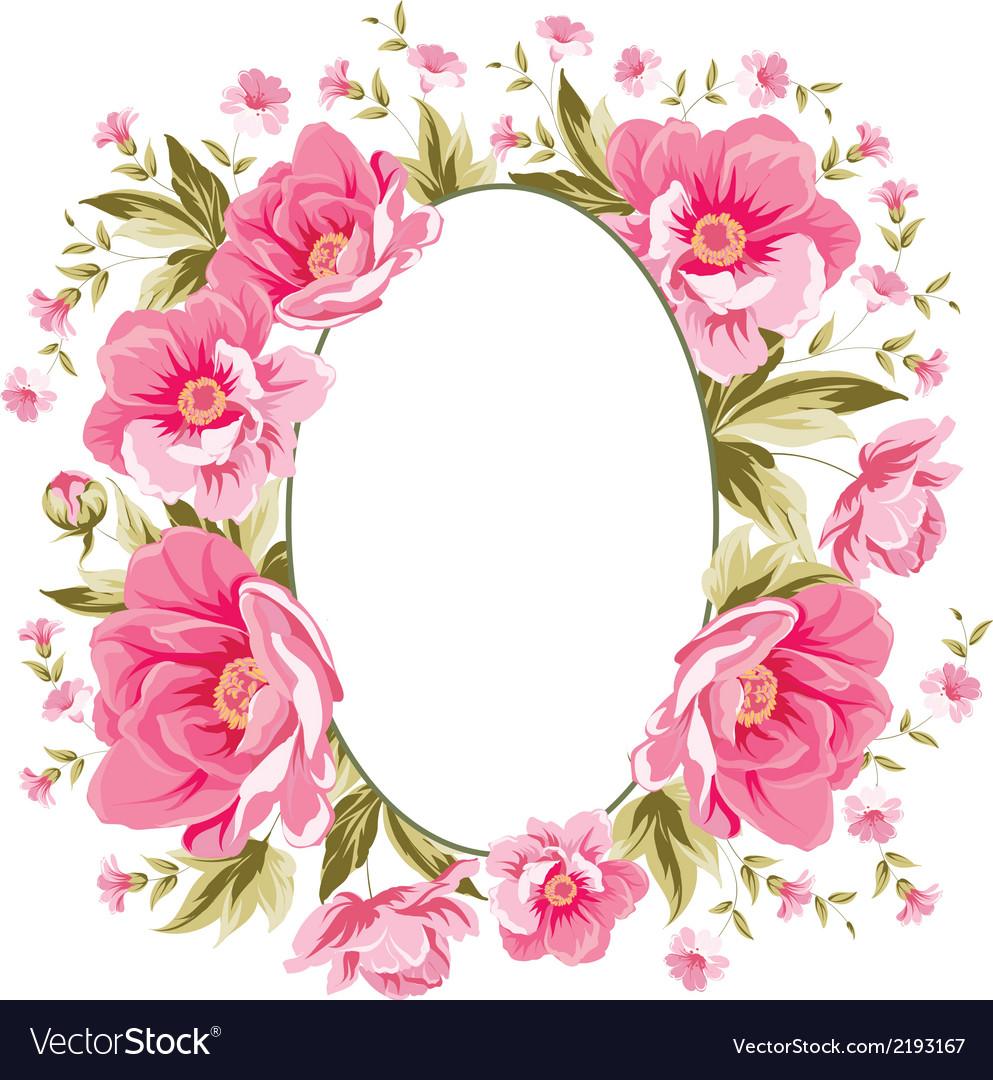 Elegant peony frame vector | Price: 1 Credit (USD $1)
