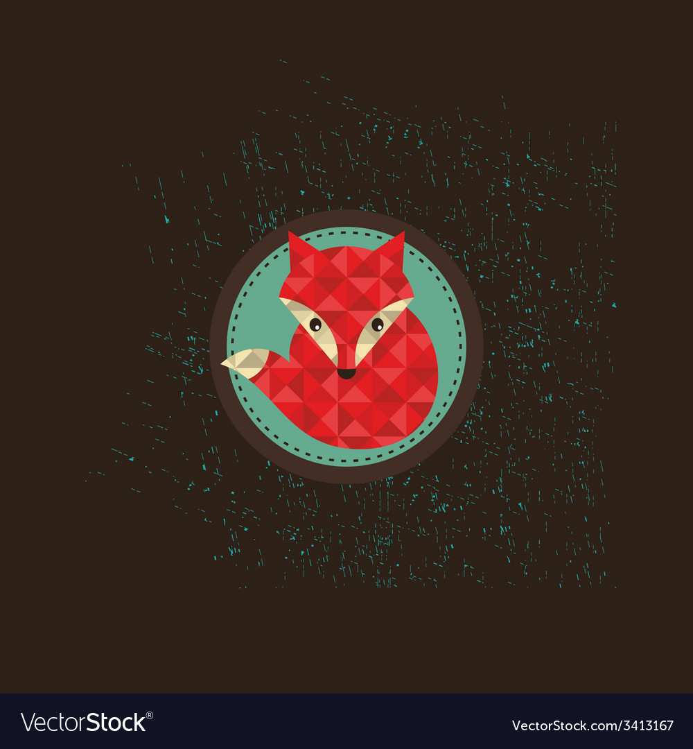 Hipster fox emblem vector | Price: 1 Credit (USD $1)