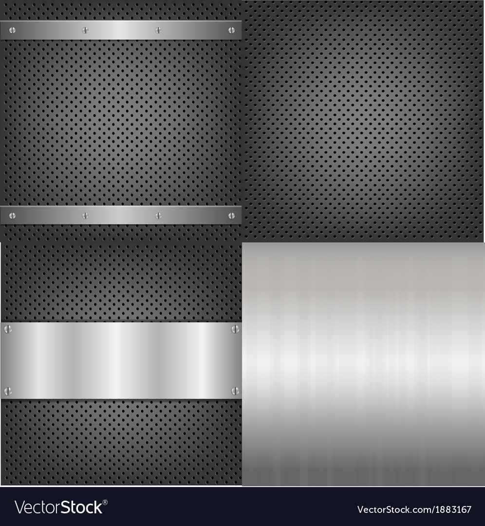 Metal and aluminum backgrounds set vector | Price: 1 Credit (USD $1)