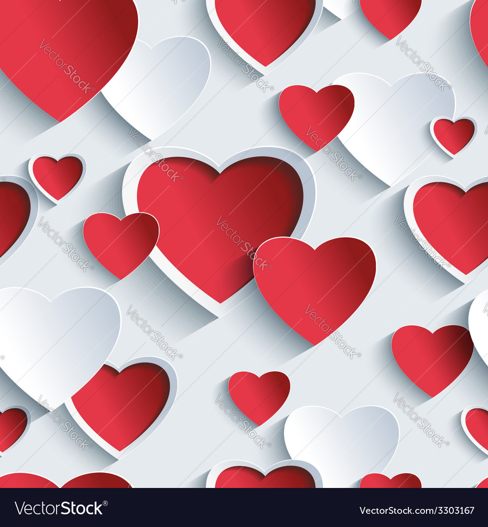 Valentines day seamless pattern with 3d heart vector | Price: 3 Credit (USD $3)