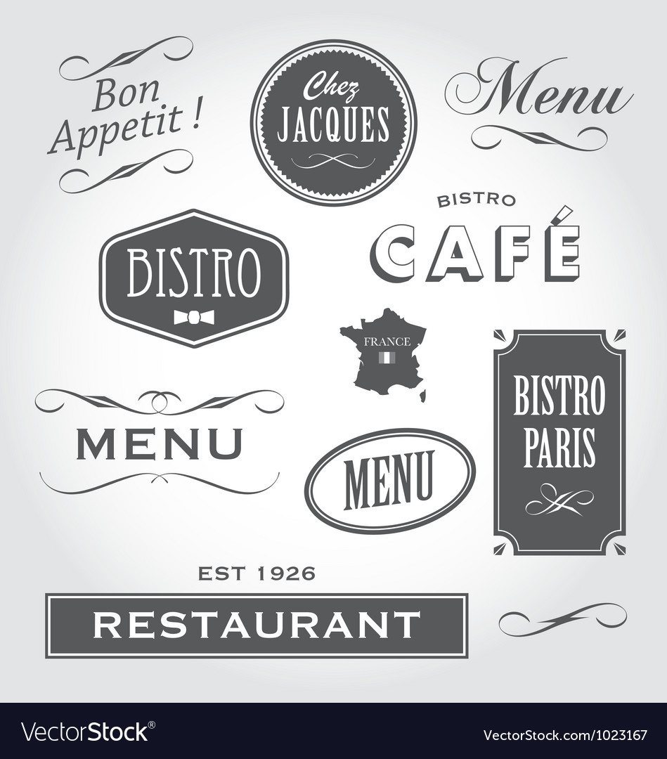 Vintage signs french restaurant vector | Price: 1 Credit (USD $1)