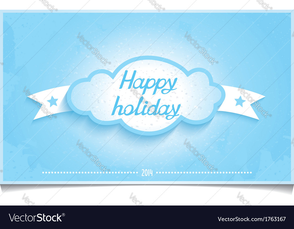 Winter greeting card happy holidays with cloud vector | Price: 1 Credit (USD $1)