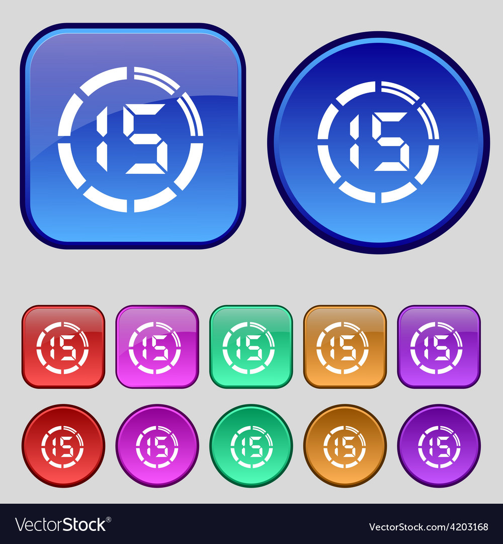 15 second stopwatch icon sign a set of twelve vector   Price: 1 Credit (USD $1)