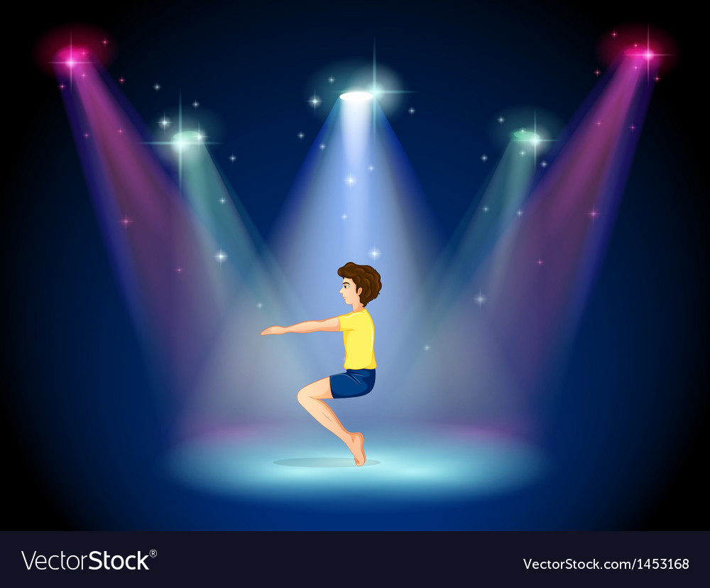 A man at the center of the stage doing yoga vector | Price: 1 Credit (USD $1)