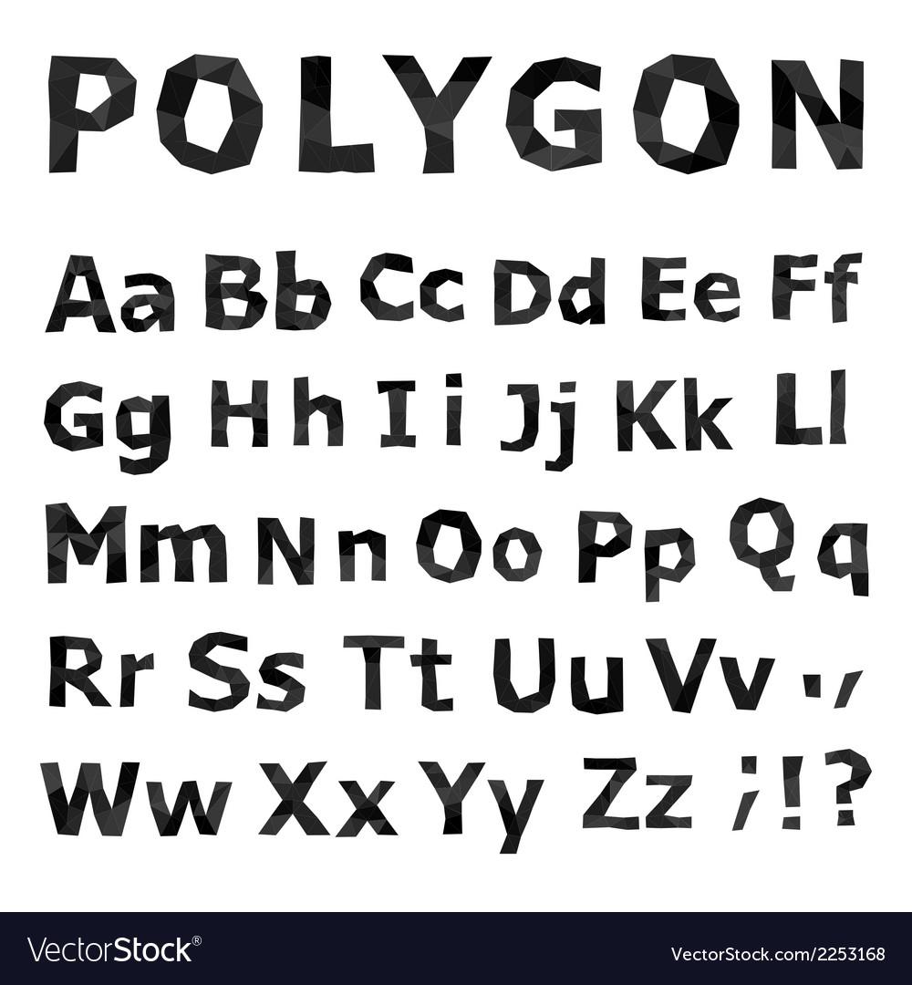 Alphabet polygonal font set vector | Price: 1 Credit (USD $1)