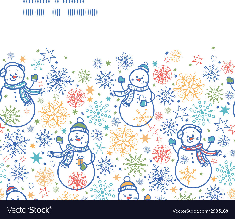 Cute snowmen horizontal frame seamless pattern vector | Price: 1 Credit (USD $1)