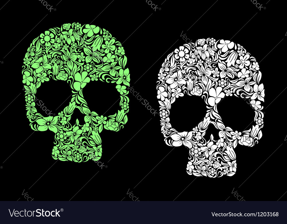Floral human skull vector | Price: 1 Credit (USD $1)
