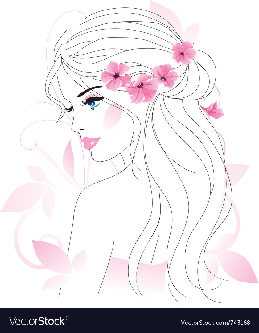 Girl with flowers vector   Price: 1 Credit (USD $1)