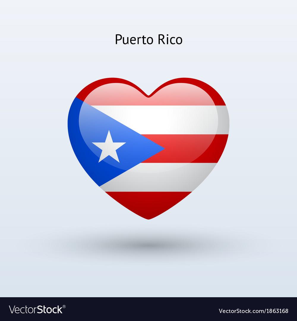 Love puerto rico symbol heart flag icon vector | Price: 1 Credit (USD $1)