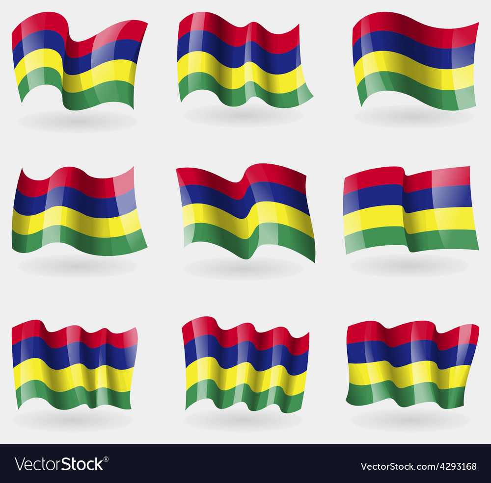 Set of mauritius flags in the air vector | Price: 3 Credit (USD $3)