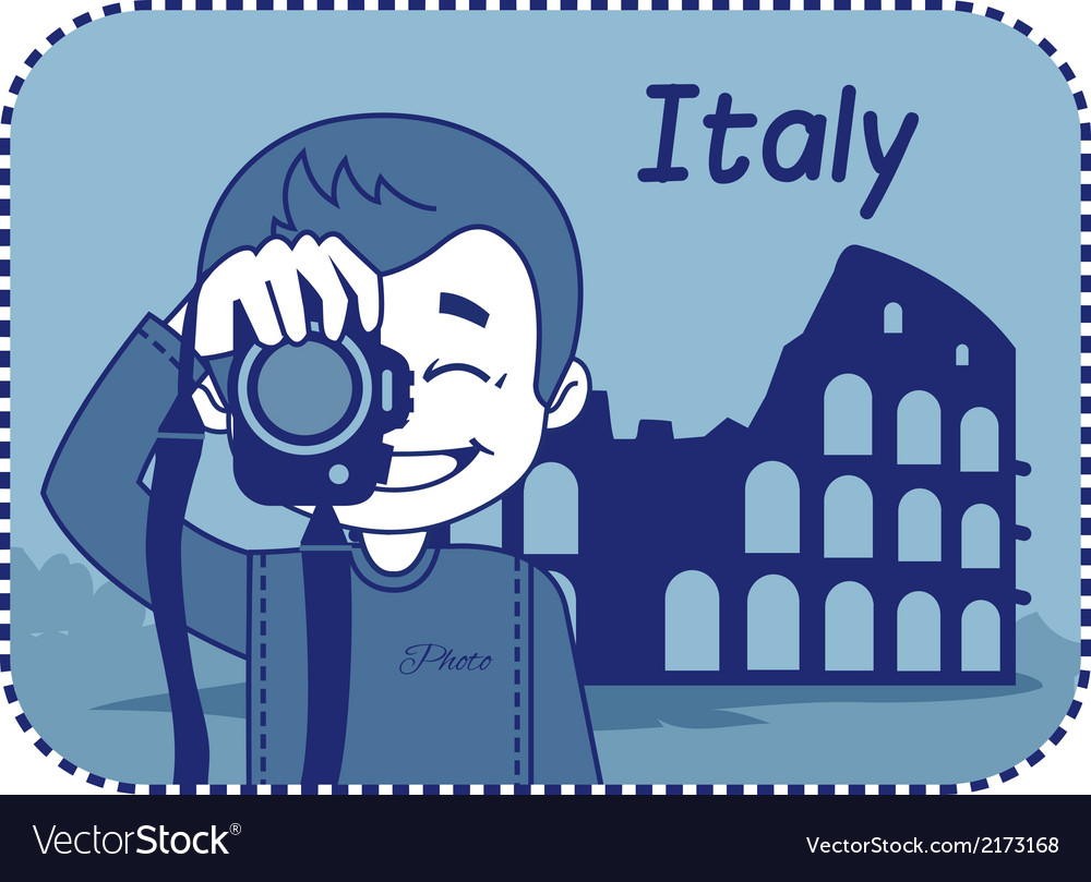 Teaser with photographer travels through italy vector | Price: 1 Credit (USD $1)