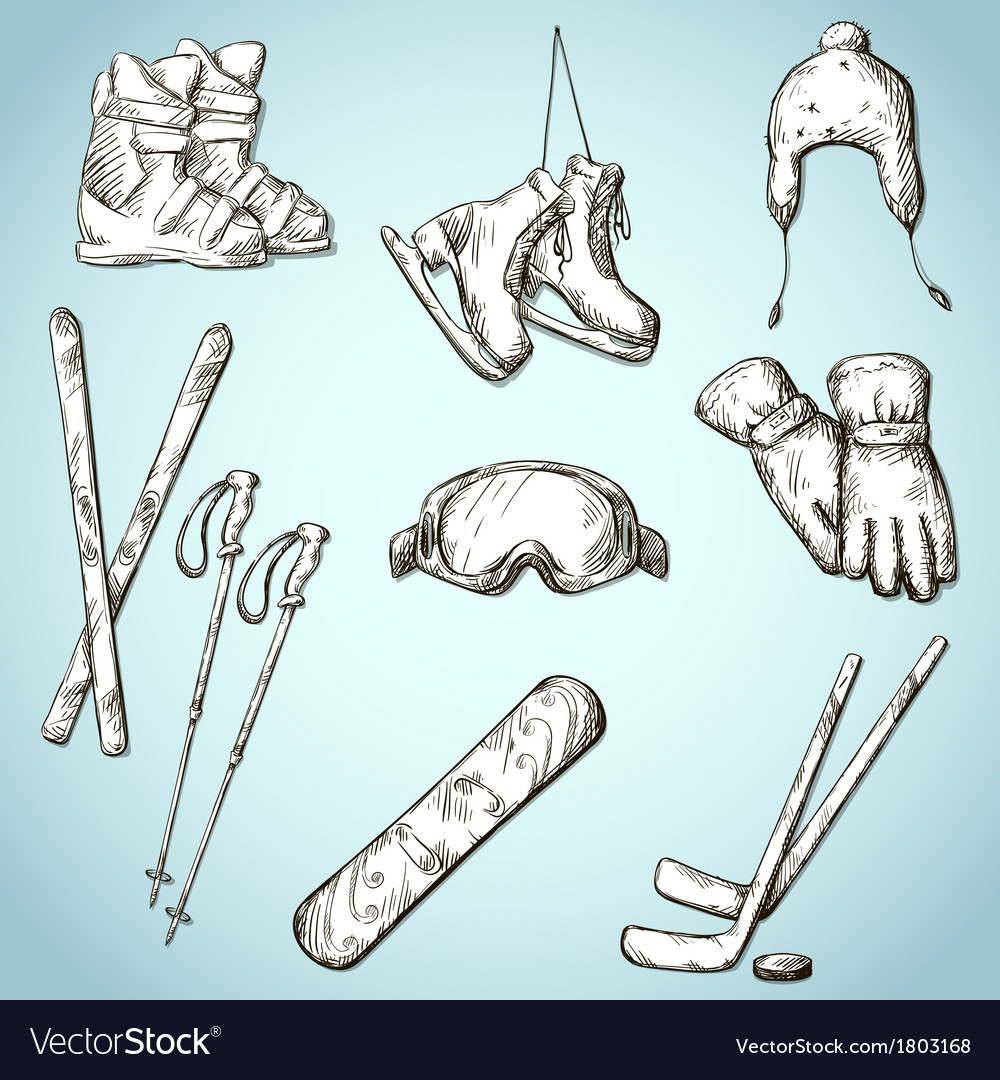 Winter sports equipment icons collection vector | Price: 1 Credit (USD $1)