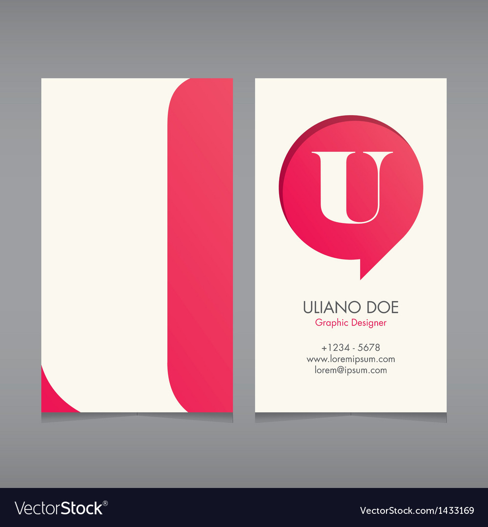 Business card template letter u vector | Price: 1 Credit (USD $1)