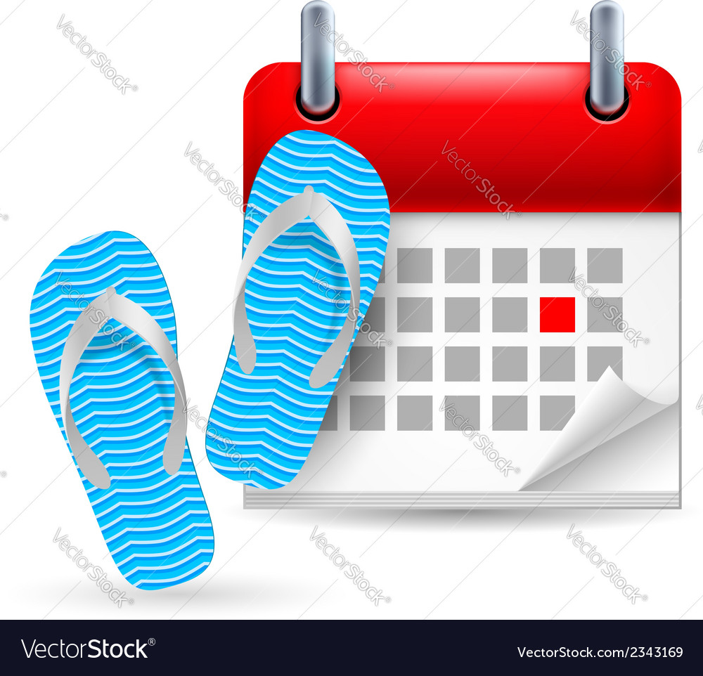 Calendar with flip flops vector | Price: 1 Credit (USD $1)