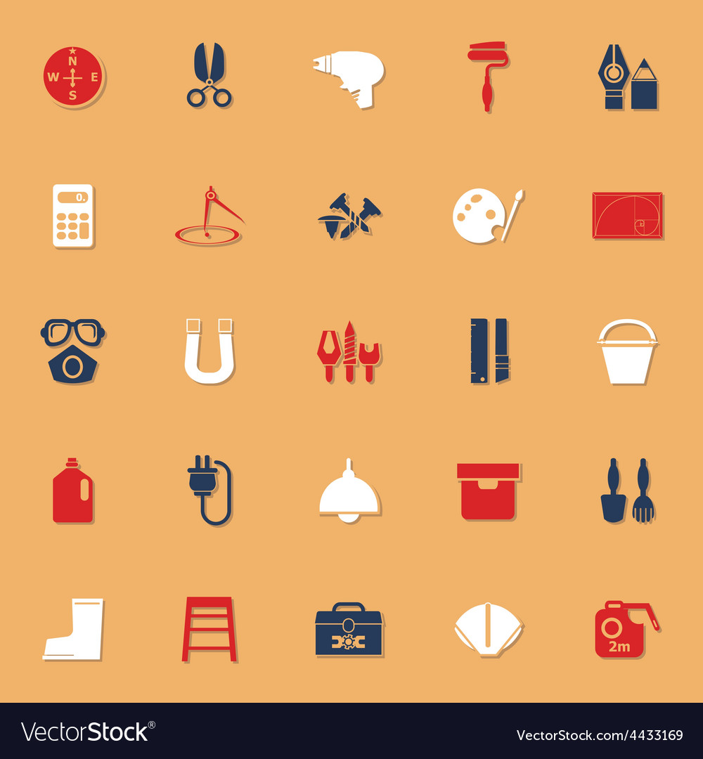 Diy tool classic color icons with shadow vector | Price: 1 Credit (USD $1)