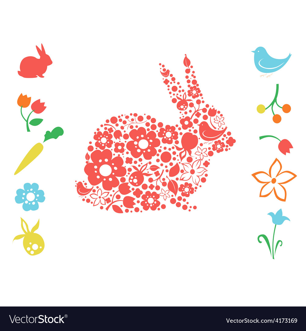 Easter bunny and floral elements vector | Price: 3 Credit (USD $3)