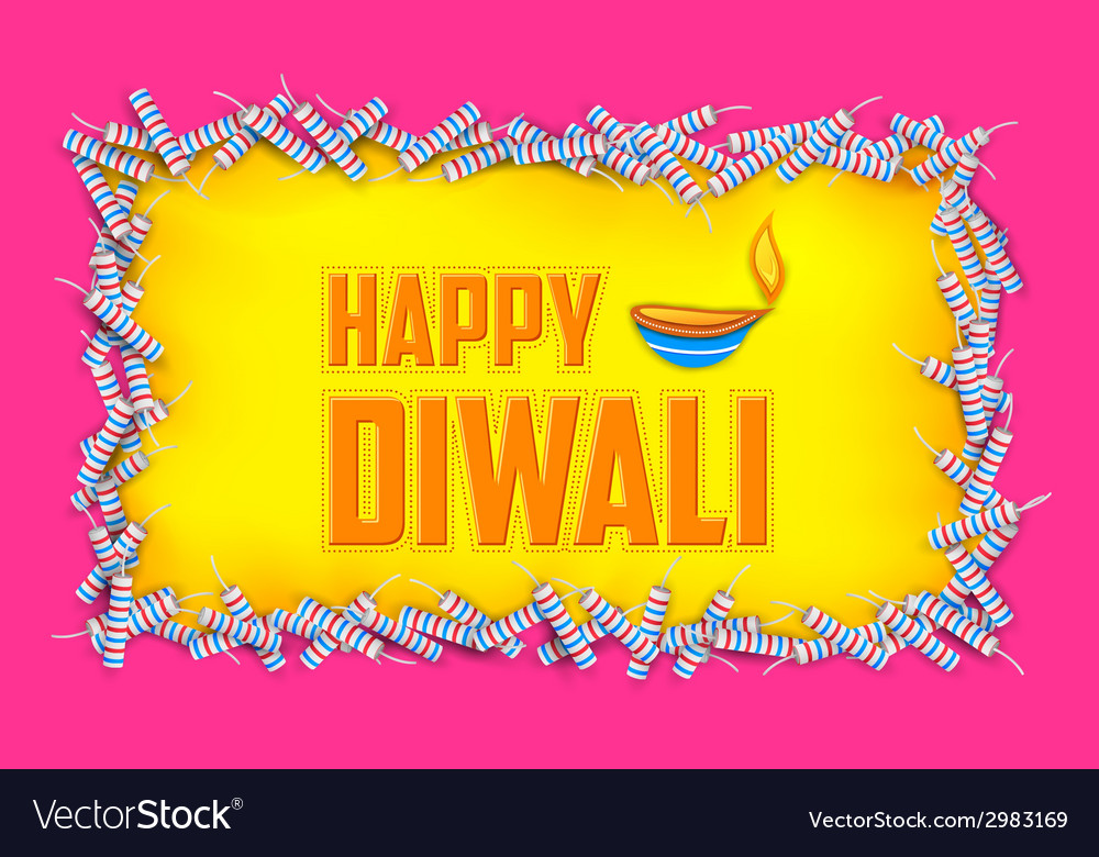 Happy diwali background with diya and firecracke vector   Price: 1 Credit (USD $1)