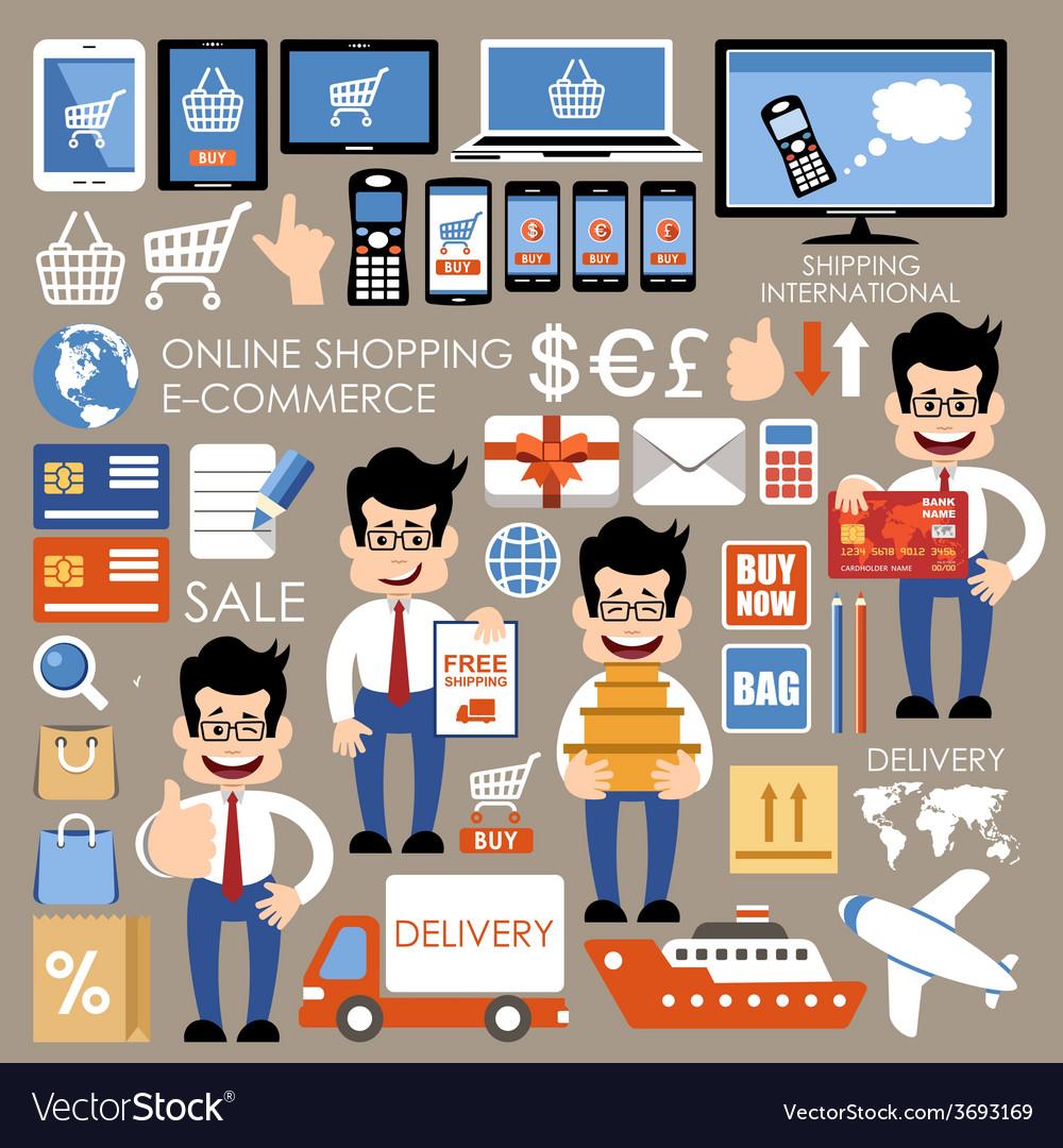 Internet shopping e-commerce online shopping set vector | Price: 1 Credit (USD $1)