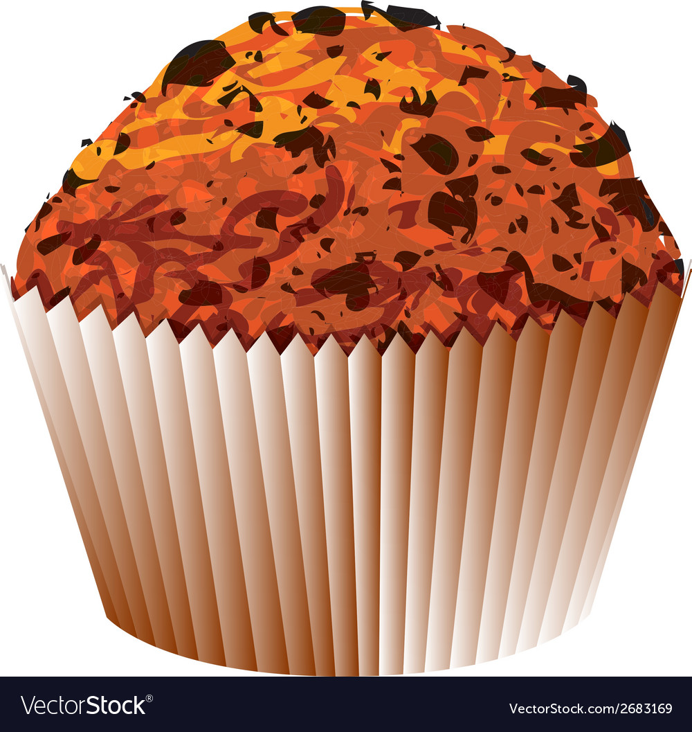 Muffin with chocolate cake object vector | Price: 1 Credit (USD $1)