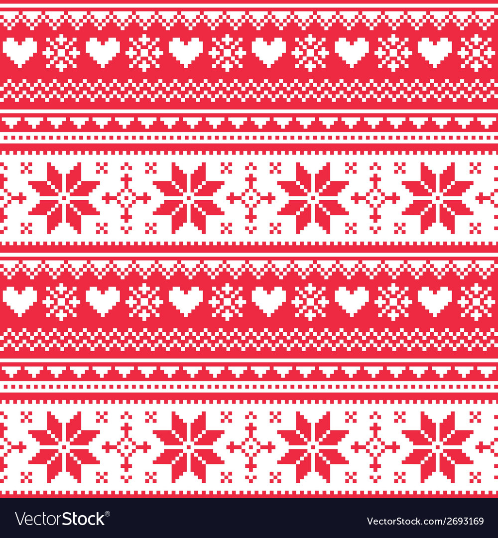Nordic seamless knitted christmas red pattern vector | Price: 1 Credit (USD $1)