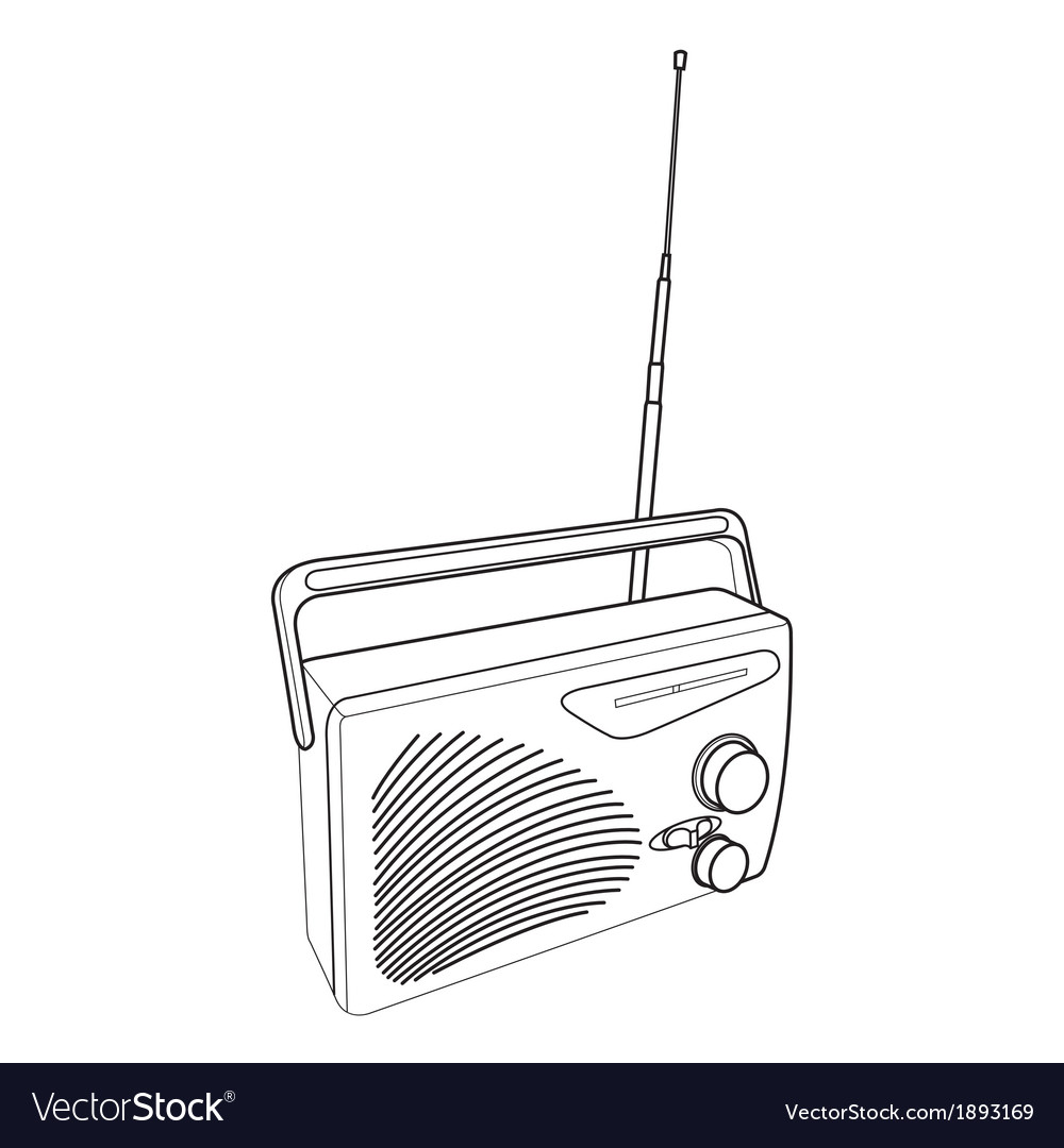 Radio and transistors out line vector | Price: 1 Credit (USD $1)