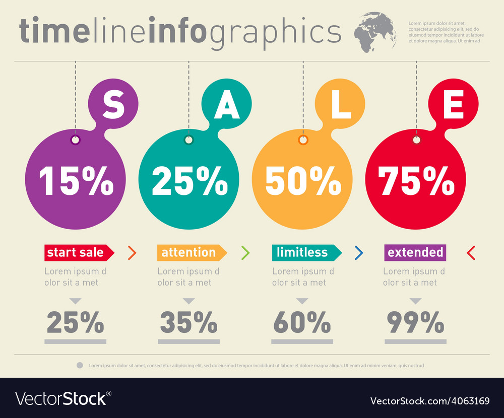 Sale infographic timeline time line of social vector | Price: 1 Credit (USD $1)