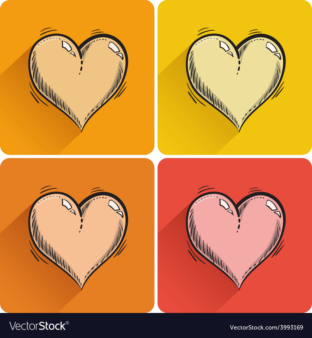 Set of drawn heart icon vector | Price: 1 Credit (USD $1)