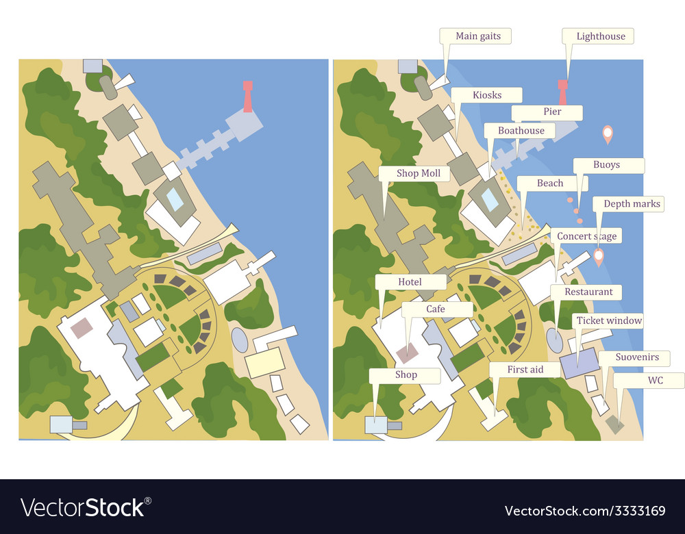 Tourist map with sea line streets marks vector | Price: 1 Credit (USD $1)