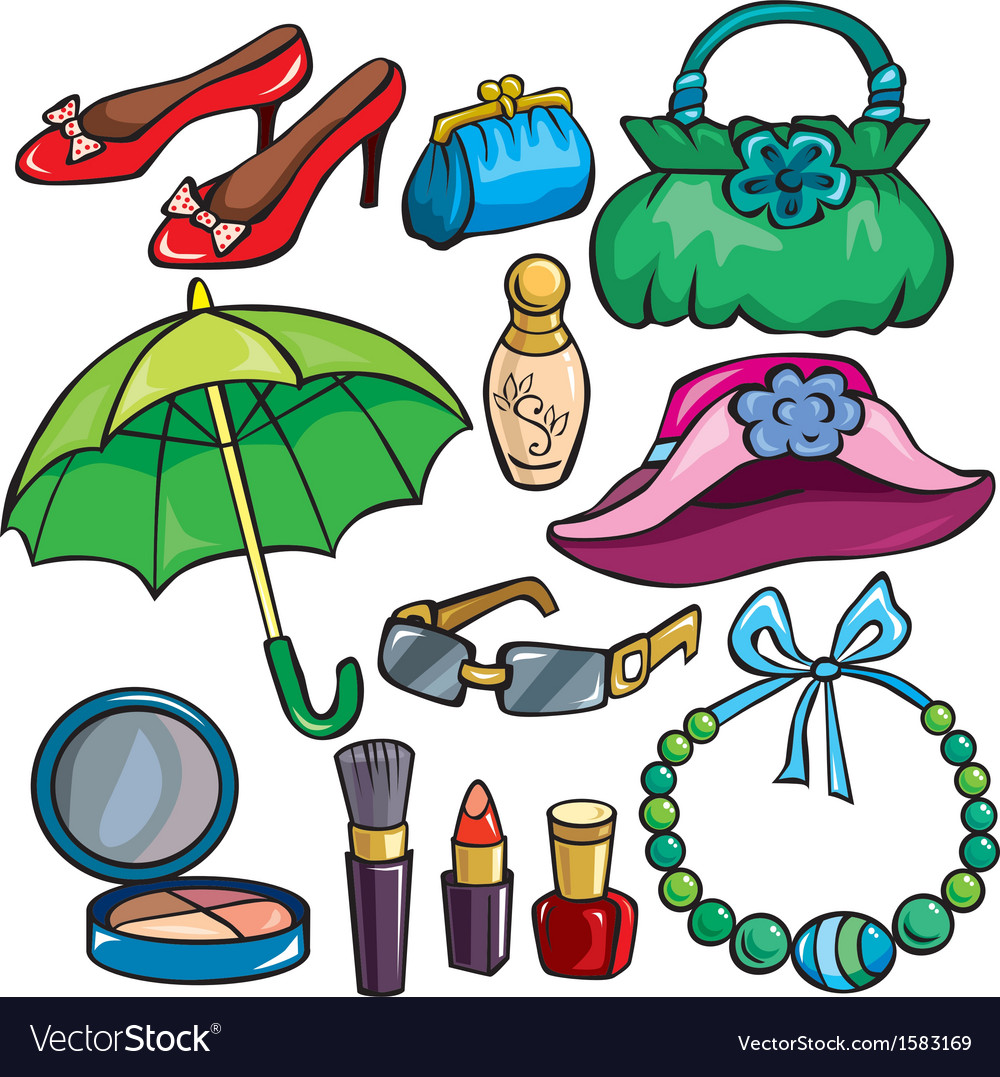 Women accessories icon set vector | Price: 1 Credit (USD $1)