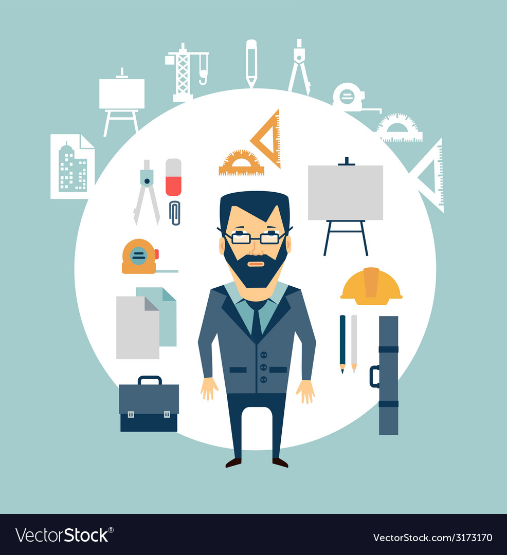 Architect of working tools vector | Price: 1 Credit (USD $1)