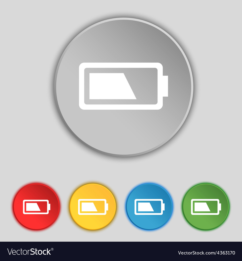 Battery half level icon sign symbol on five flat vector   Price: 1 Credit (USD $1)