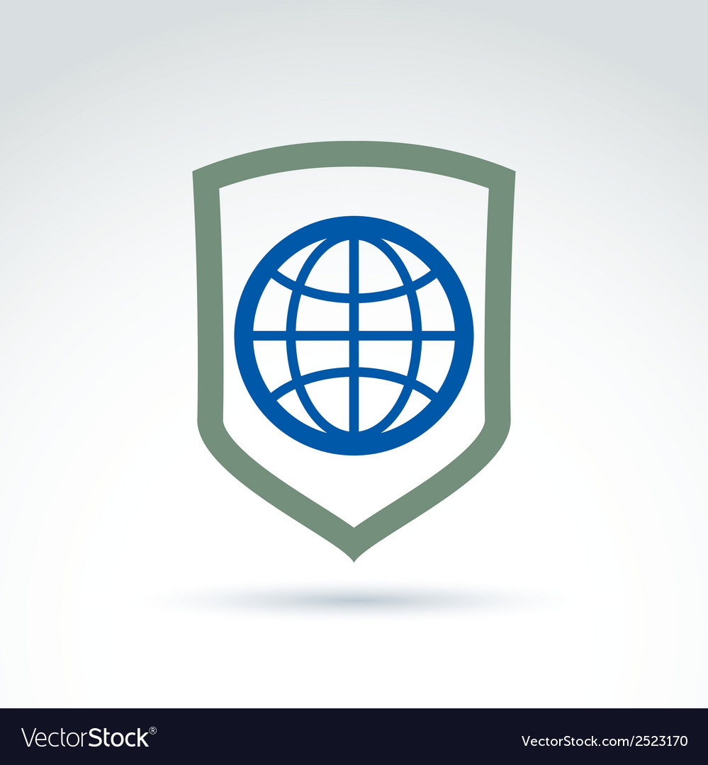 Blue planet placed on a shield save earth vector   Price: 1 Credit (USD $1)