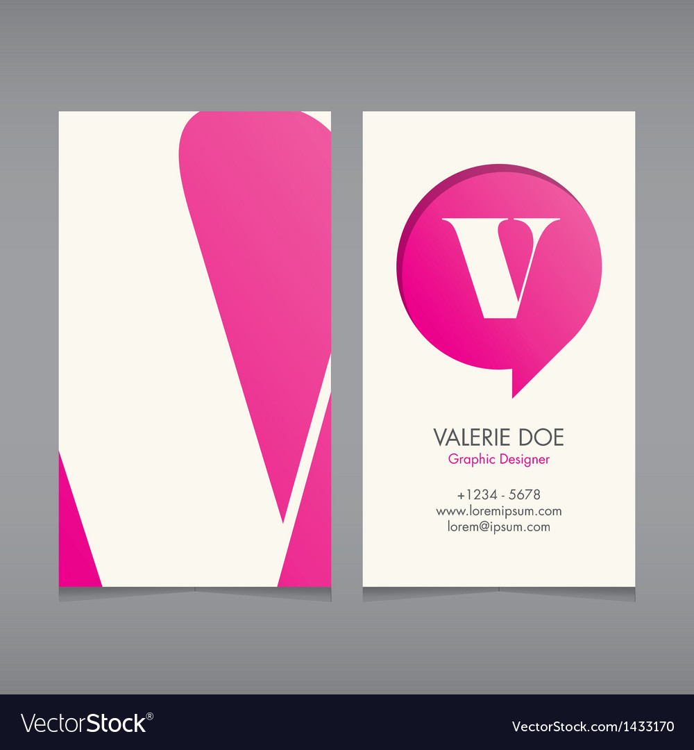 Business card template letter v vector | Price: 1 Credit (USD $1)
