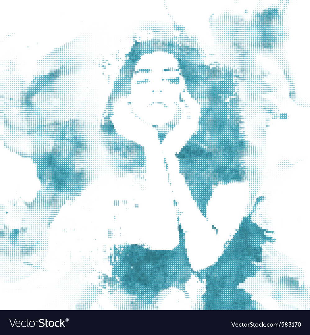 Halftone water woman vector | Price: 1 Credit (USD $1)