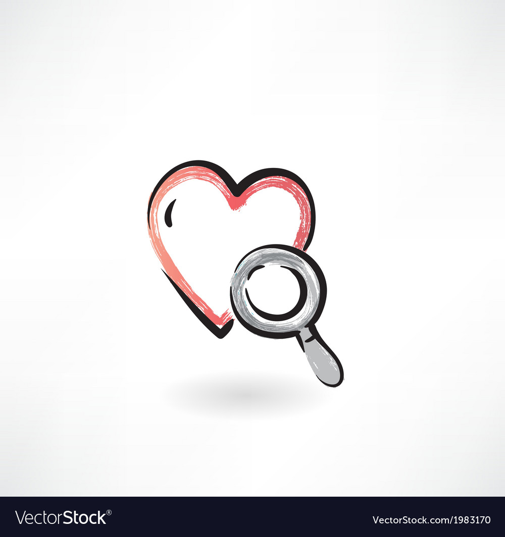 Heart study grunge icon vector | Price: 1 Credit (USD $1)
