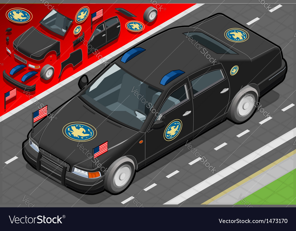 Isometric presidential limousine in front view vector | Price: 1 Credit (USD $1)