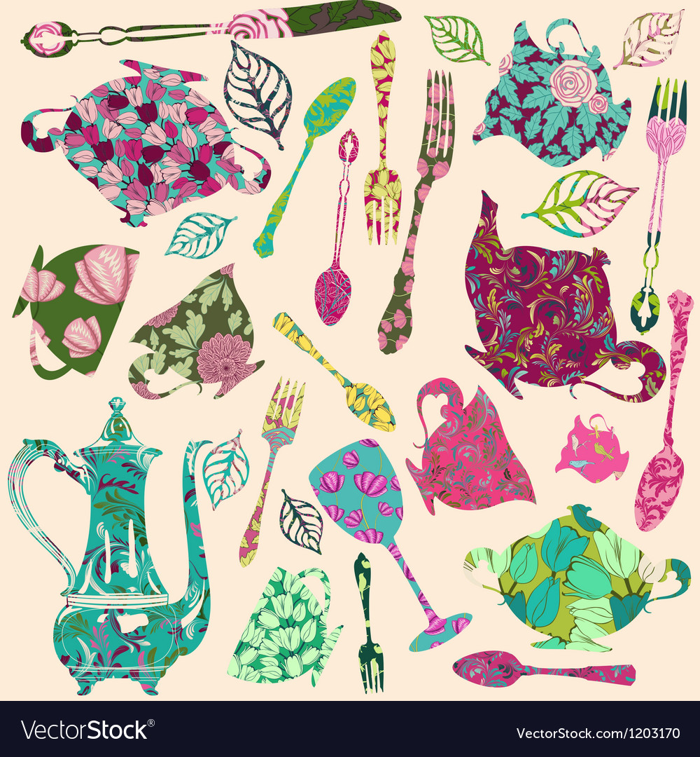 Patch silhouettes for scrap booking of tea theme vector | Price: 1 Credit (USD $1)