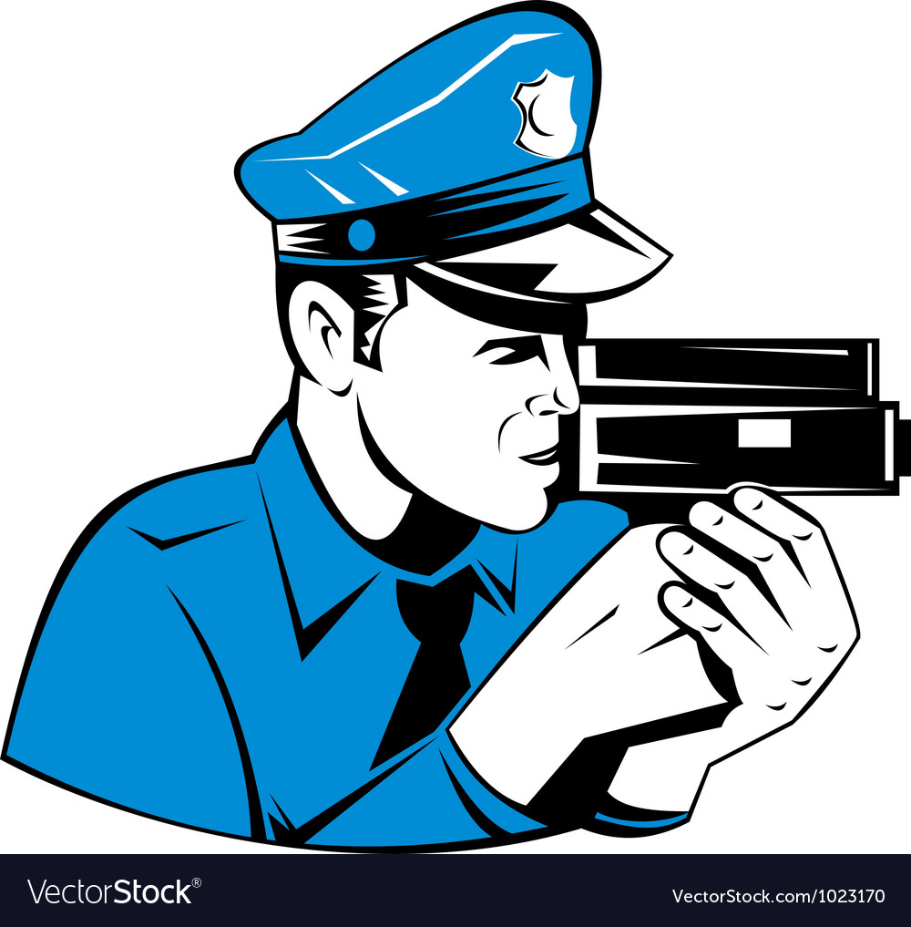 Policeman police officer speed camera vector | Price: 1 Credit (USD $1)