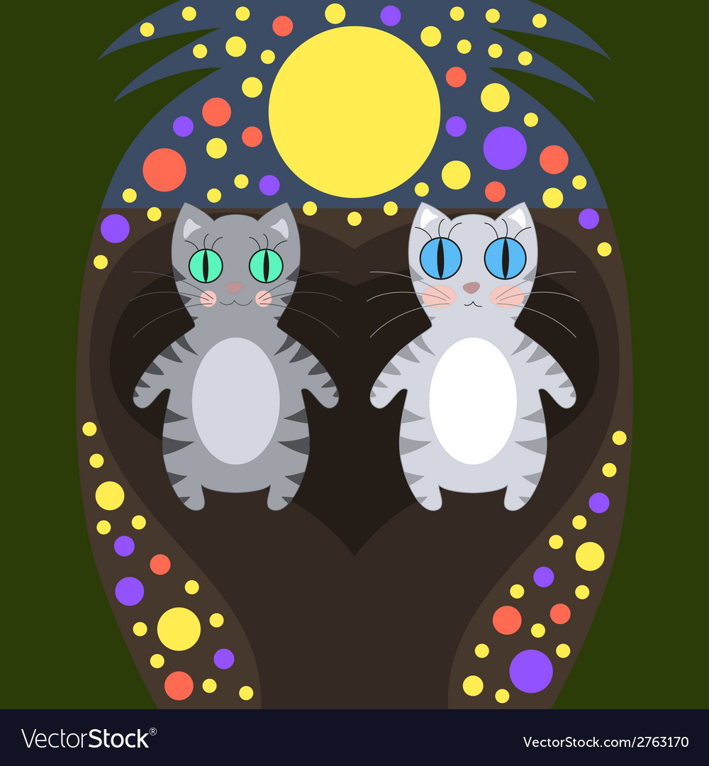 Romantic cats walking vector | Price: 1 Credit (USD $1)