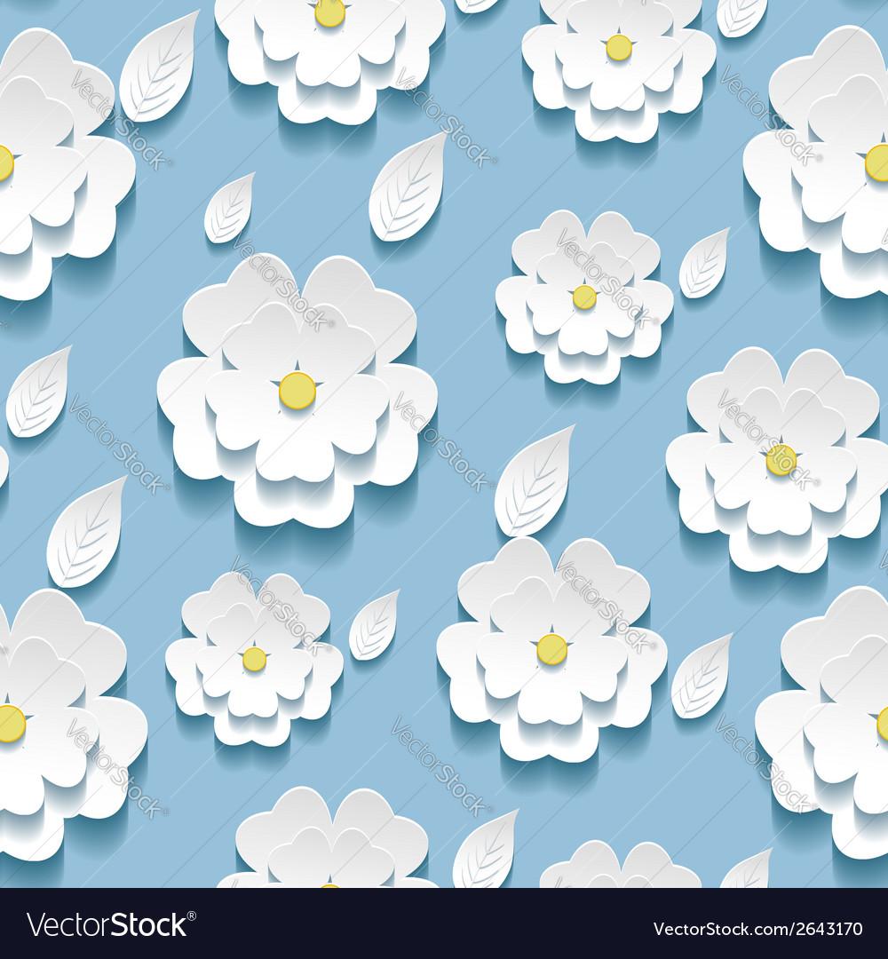 Seamless pattern with 3d sakura cherry tree vector