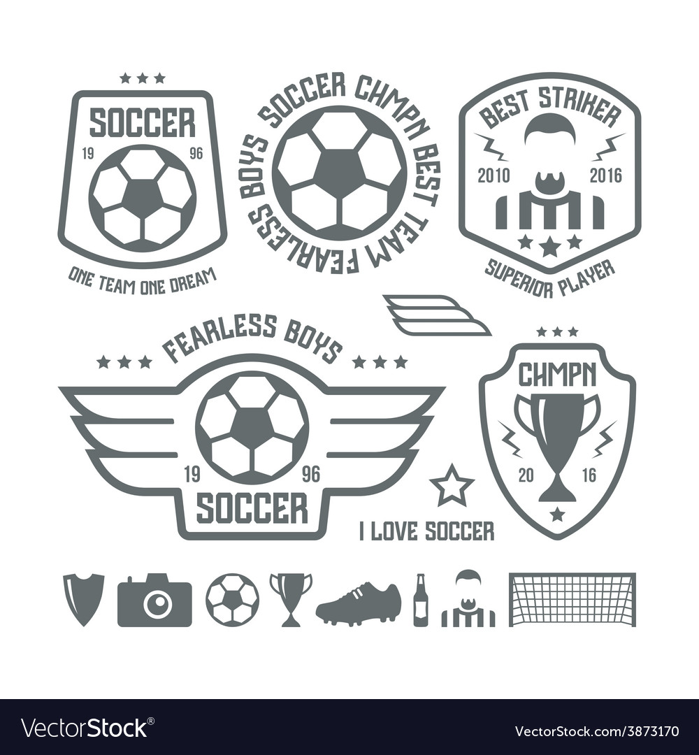Set of soccer emblems and icons vector | Price: 1 Credit (USD $1)