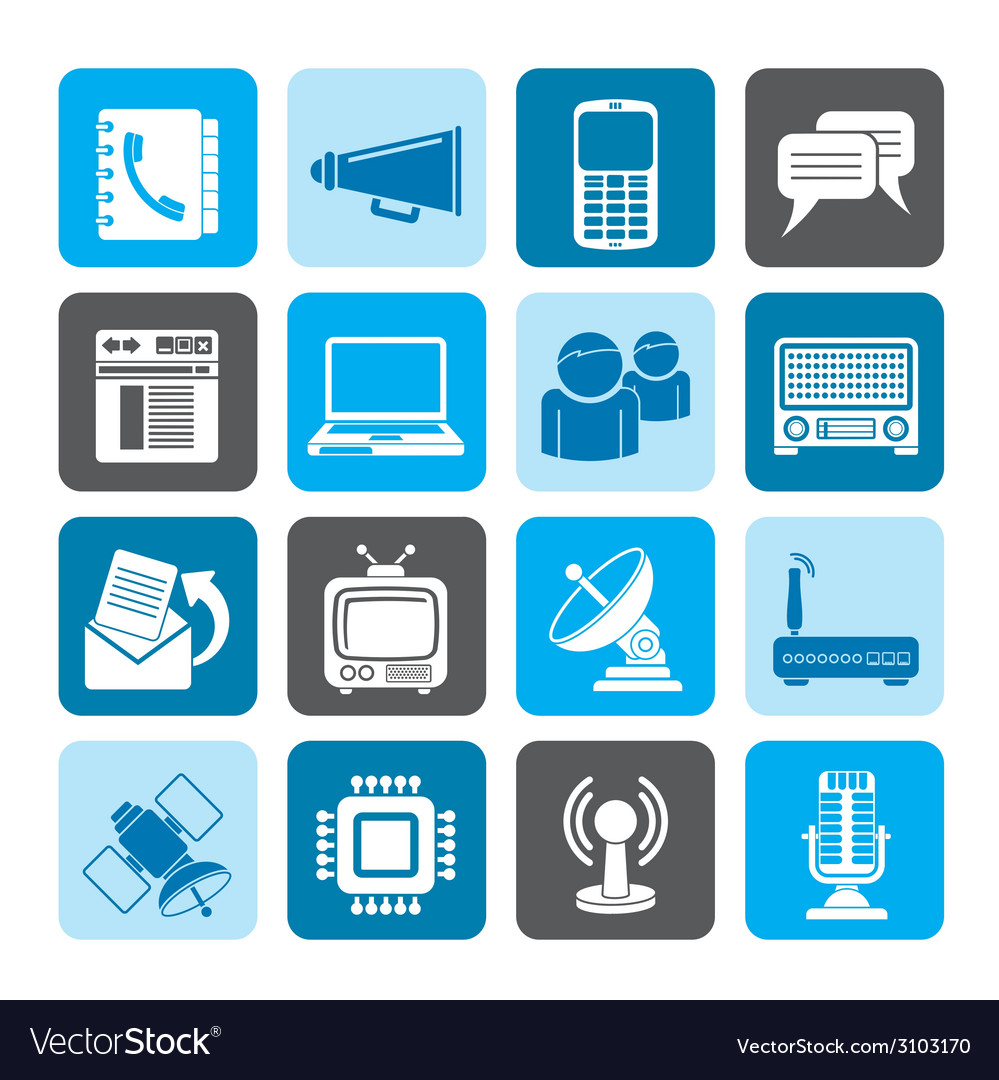 Silhouette communication and technology vector | Price: 1 Credit (USD $1)