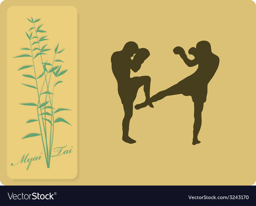 The two men are engaged in myai tai vector | Price: 1 Credit (USD $1)