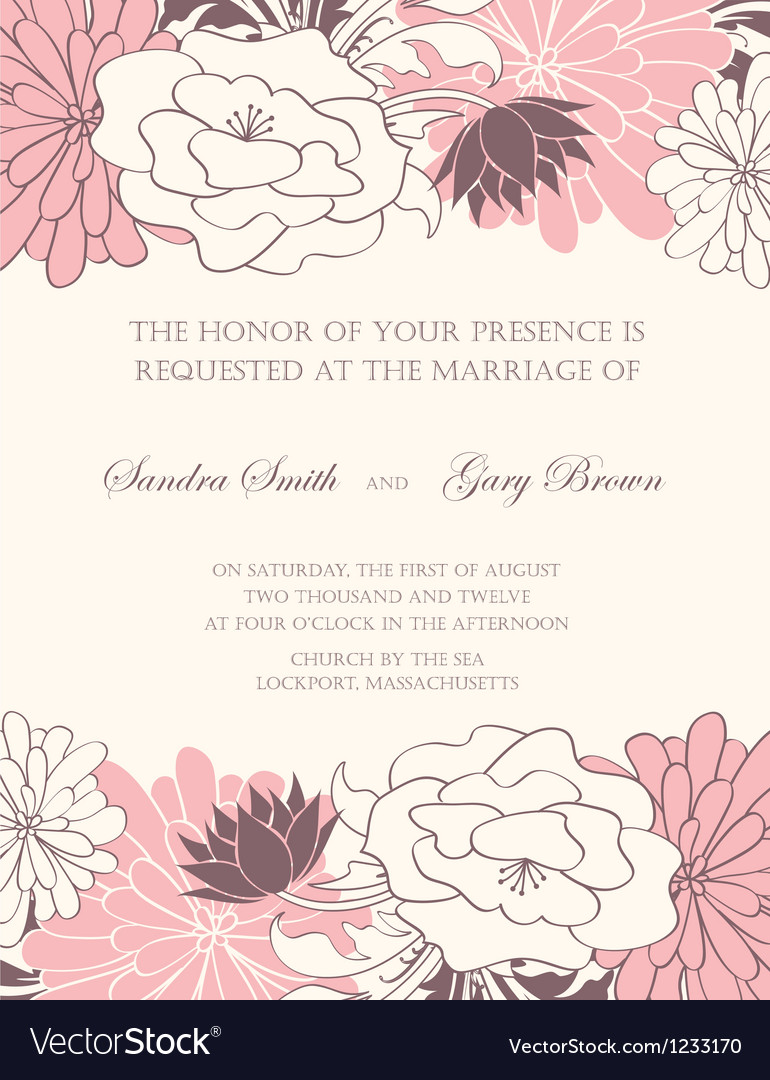 Wedding invitation floral card vector | Price: 1 Credit (USD $1)