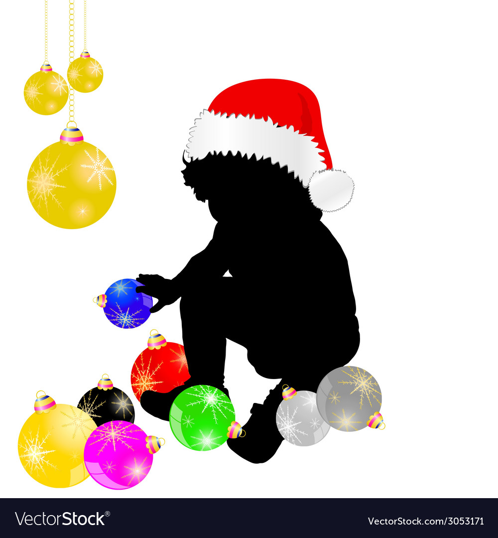 Baby with christmas hat and decoration vector | Price: 1 Credit (USD $1)