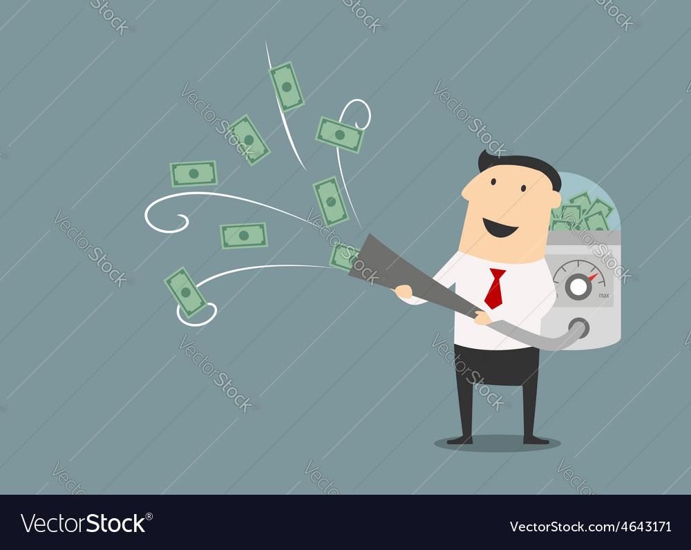 Cartoon businessman vacuuming up money vector | Price: 1 Credit (USD $1)
