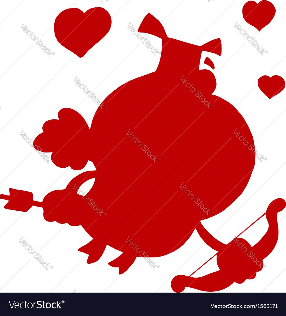 Cupid silhouette cartoon vector   Price: 1 Credit (USD $1)