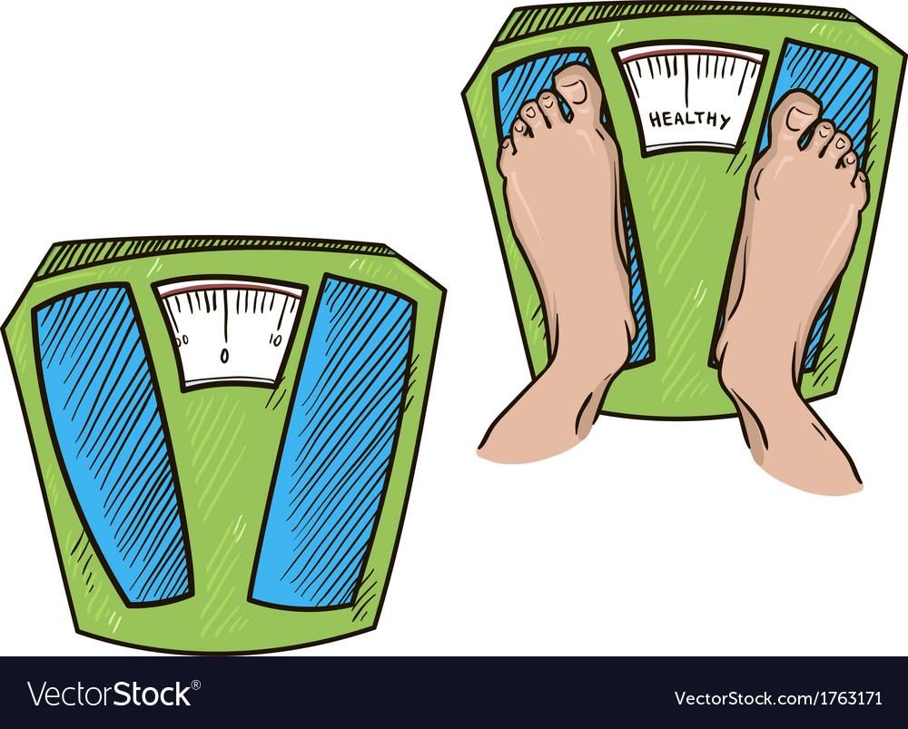 Feet on weight scales healthy weight vector | Price: 1 Credit (USD $1)