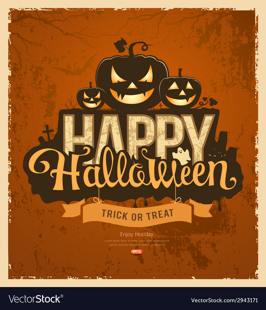 Happy halloween pumpkin message design vector | Price: 3 Credit (USD $3)