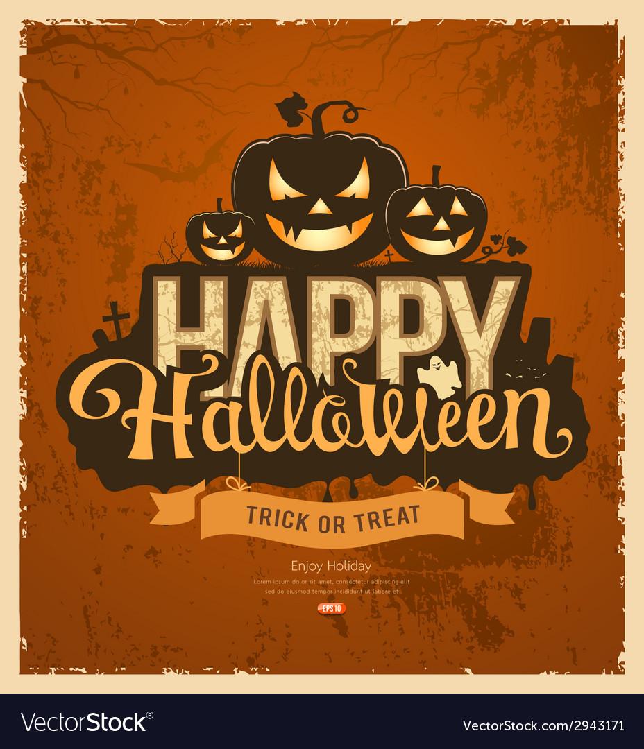 Happy halloween pumpkin message design vector | Price: 3 Credit (USD $3)